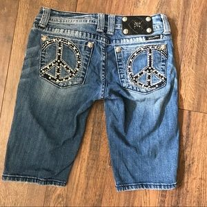Miss Me Bermuda Jean Shorts w/ Peace Sign Pocket